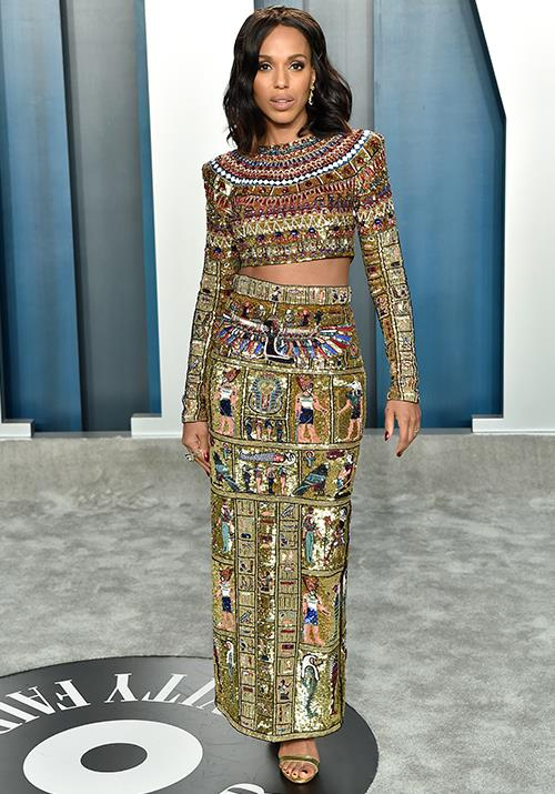 Kerry Washington's cropped print ensemble was eye-catching to say the least.