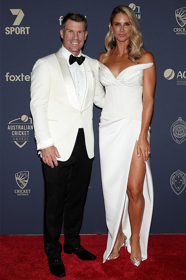 Candice and David dressed up to the nines on the red carpet at the Australian Cricket Awards.