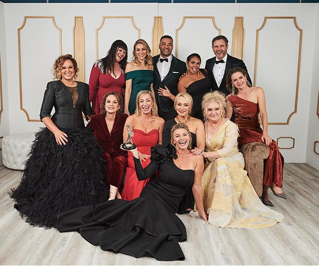 The cast of Wentworth celebrating their 2019 Logies win.
