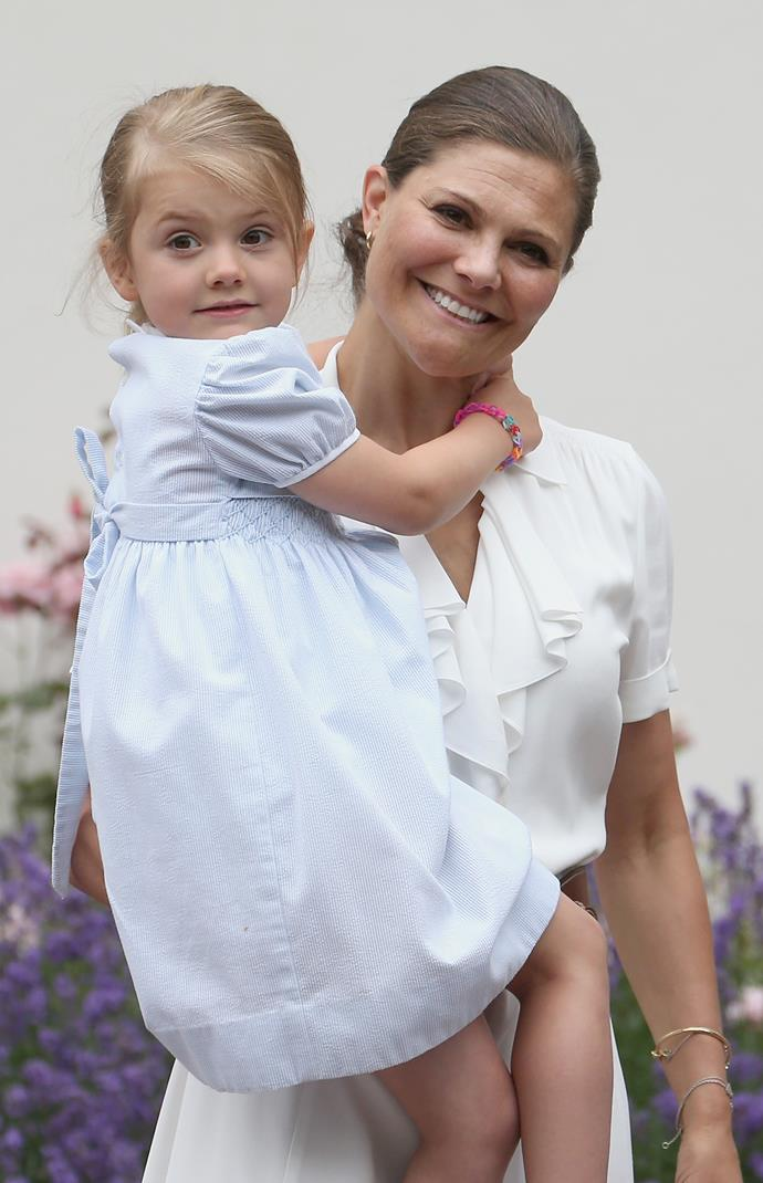 Princess Estelle, pictured with her mum Crown Princess Victoria in 2016, is now almost eight-years-old.