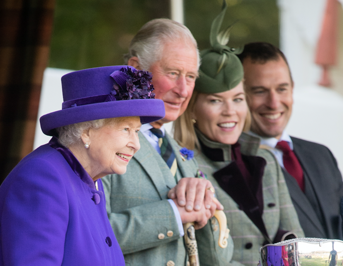 Peter and Autumn (pictured far right) were seen with Prince Charles and the Queen at the Scottish  Braemar Games in September 2019.