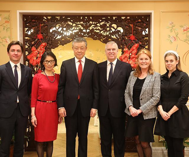 Edoardo Mapelli Mozzi, with Chinese Ambassador to the UK Liu Xiaoming, Prince Andrew, Sarah Ferguson and Princess Beatrice.