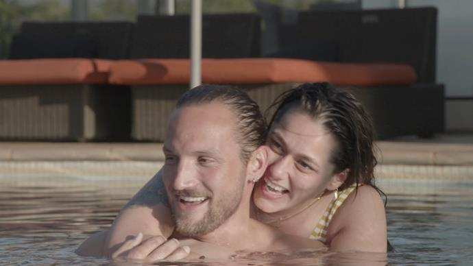 And the couple shared a few loved-up moments in the pool, plus their first kiss later on!