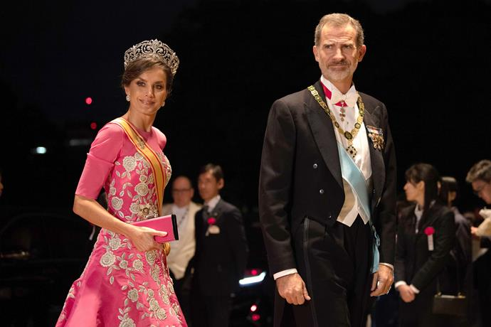 Queen Letizia was seen wearing the dress while visiting Japan in 2019.