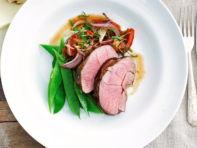"An Aussie [**lamb rump roast**](https://www.womensweeklyfood.com.au/recipes/lamb-rump-roast-28261|target=""_blank"") will tantalise the tastebuds, and it's served with a fragrant grilled tomato salad and steamed greens."