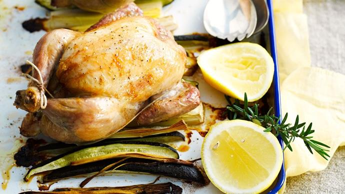 "Flavoured with delicious lemon and rosemary, this [**roast chicken for two**](https://www.womensweeklyfood.com.au/recipes/roast-chicken-for-two-23971|target=""_blank"") is the perfect dinner in."