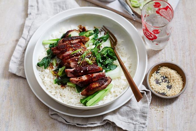 "Why go out when you make this Chinese-style [**sticky roast duck breast**](https://www.womensweeklyfood.com.au/recipes/sticky-roast-duck-breast-2674|target=""_blank"") at home?"