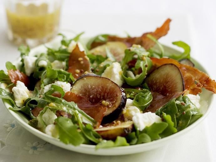 "If you're after something light, this [**goat cheese, fig and prosciutto salad**](https://www.womensweeklyfood.com.au/recipes/goat-cheese-fig-and-prosciutto-salad-6976|target=""_blank"") will suit you and your partner perfectly."