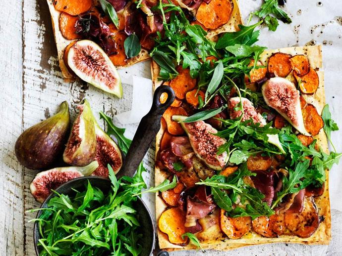 "These [**kumara, prosciutto and smoked mozzarella flatbreads**](https://www.womensweeklyfood.com.au/recipes/kumara-prosciutto-and-smoked-mozzarella-flatbreads-29402|target=""_blank"") can be veggied up! Skip the prosciutto and increase the amount of kumara to 500g."