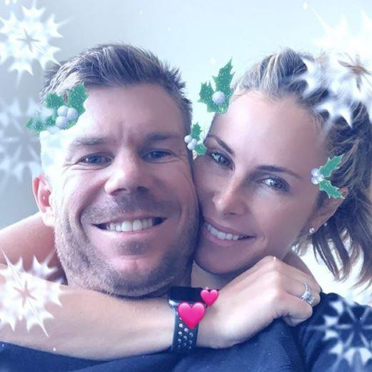 "David Warner shared a cute Christmas-themed pic with wife Candice, writing: ""My valentine, I love you @candywarner1 #rock""."