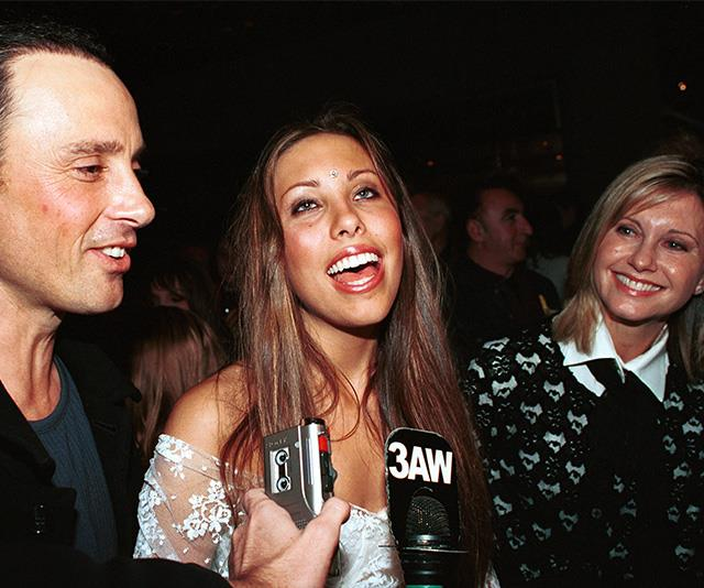 Back in 2002, a brunette Chloe sat in between her parents, Matt Lattanzi and Olivia Newton-John, at the after party of the musical *Hair* in Melbourne.