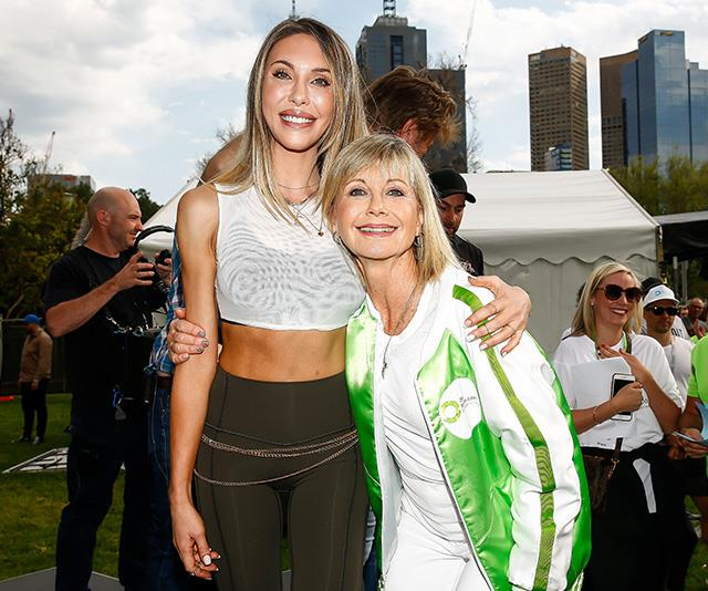 Chloe stood by her mum's side during the Olivia Newton-John Wellness Walk and Research Run in October 2019 in Melbourne. The event was held to fund cancer research and provide access to world-leading wellness and support care programs for patients within the ONJ Centre - Olivia's self-funded centre for cancer patients.