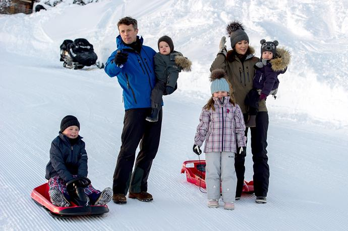 The Danish royals are fans of the slopes.