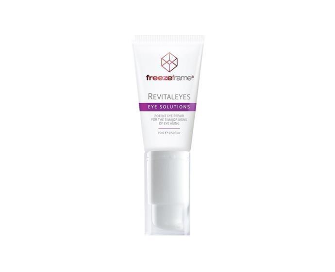 "Revitaleyes Eye Solution by freezeframe, $69 at [Priceline Pharmacy](https://www.priceline.com.au/freezeframe-revitaleyes-15-ml|target=""_blank""|rel=""nofollow"")"