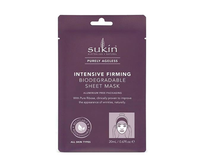 "Intensive Firming sheet mask by Sukin, $8.99 at [Priceline Pharmacy](https://www.priceline.com.au/sukin-purely-ageless-intensive-firming-sheet-mask-1-ea|target=""_blank""|rel=""nofollow"")"