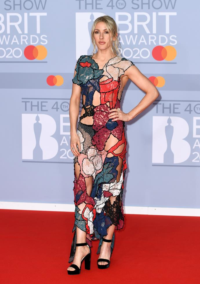 British songstress Ellie Goulding showed some skin in her unique gown.