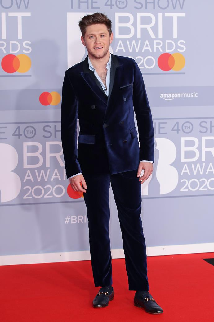 Former One Directioner Niall Horan looked dapper in his midnight blue suit.