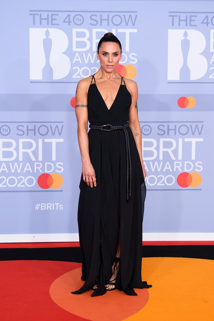 Sporty Spice is in the house! Mel C looked like a Greek goddess in her black frock.
