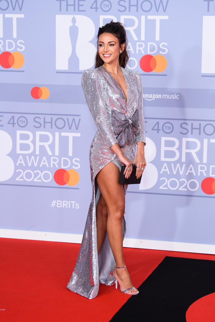 Actress Michelle Keegan literally sparkled on the carpet in silver.