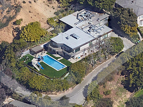 Birds eye view of Nicole and Keith's Los Angeles mansion