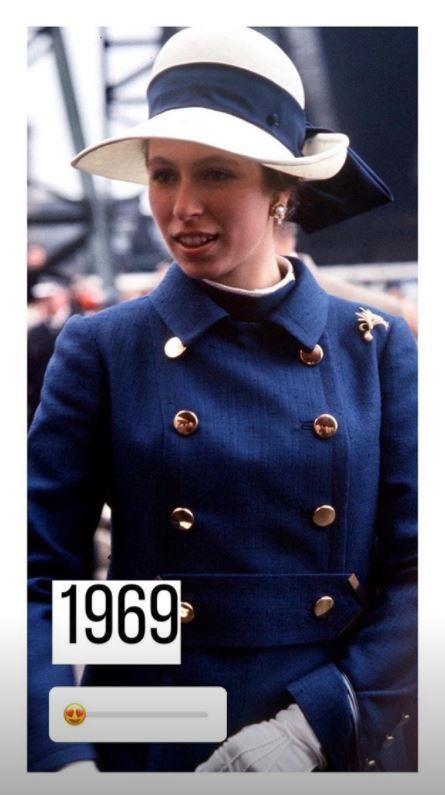 Anne looked smart in this military-blue ensemble in 1969.