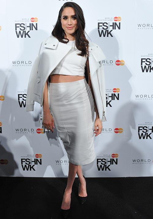 In the midst of her *Suits* days, Meghan was a big fan of the crop. She pulled it off in white edition at a Fashion Week event in Toronto, circa 2015.