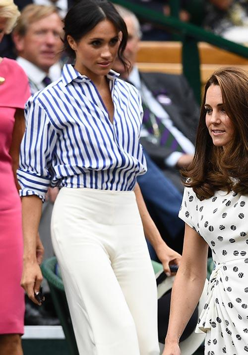 In one of our favourite looks on Meghan of all time, the newly-married royal attended the 2018 Wimbledon Championships in a stripy shirt and wide-legged pants combination that our eyes never knew they needed.