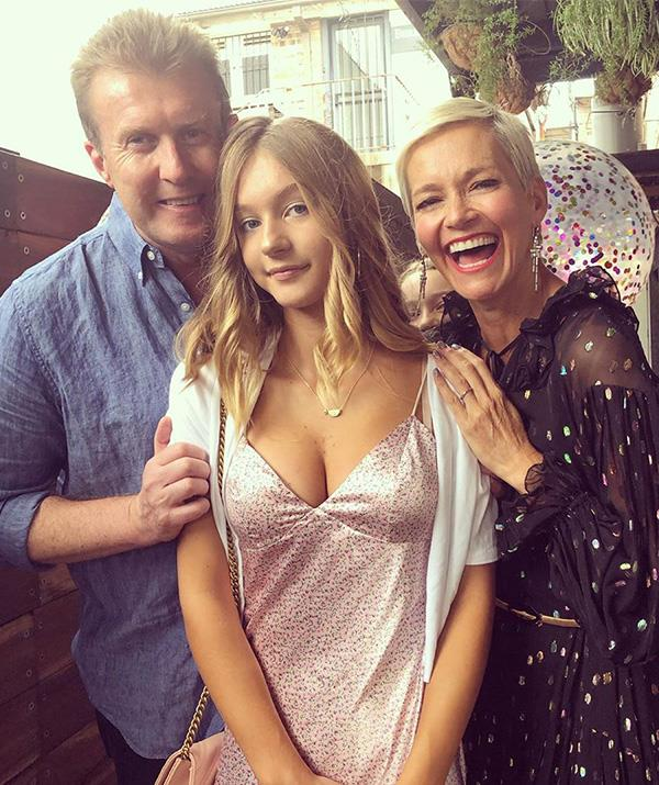 Peter Overton and Jessica Rowe with their eldest daughter, 13-year-old Allegra.