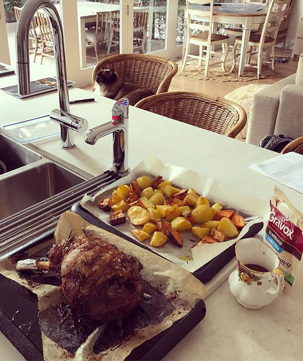 And she's learnt how to master the lamb roast!