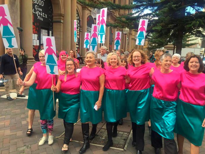 The Pink Meets Teal rally in Newcastle, Jill in the front row.