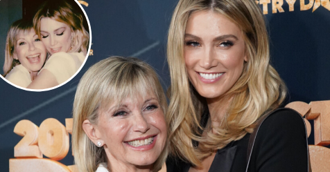 Hopelessly devoted to you! Delta Goodrem's candid behind-the-scenes photo of Olivia Newton-John