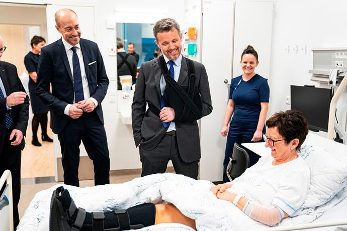 Can relate! Crown Prince Frederik has stepped out for the first time since undergoing surgery on his shoulder following a skiing accident.