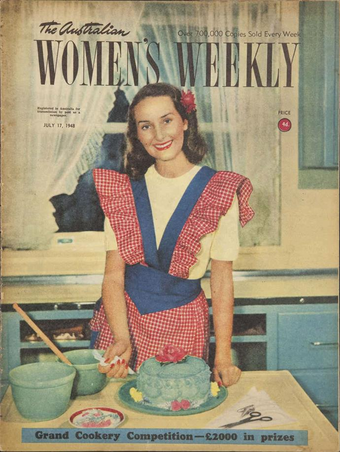 June Dally-Watkins smiling on the cover of *The Weekly* back in July, 1948.