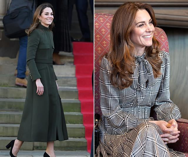 Kate's heavenly McQueen coat, worn while visiting Bradford in January 2020 was stunning enough on its own - but it was the chic Zara dress she later revealed underneath that really placed the cherry atop the pie.