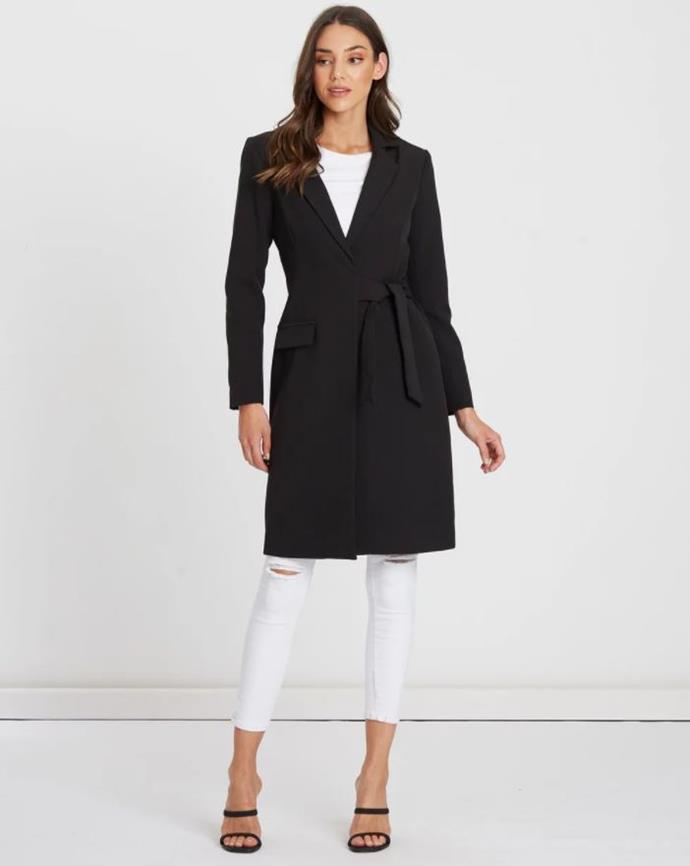"Tussah, Vanita Long Line Jacket, $74.97. [Available via The Iconic here](https://www.theiconic.com.au/vanita-long-line-jacket-881169.html|target=""_blank""