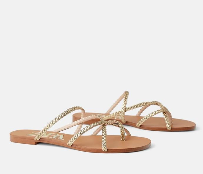 "Zara Flat Braided Metallic Sandals, $49.95. [Available online here](https://www.zara.com/au/en/flat-sandals-with-braided-metallic-straps-p12614001.html|target=""_blank""