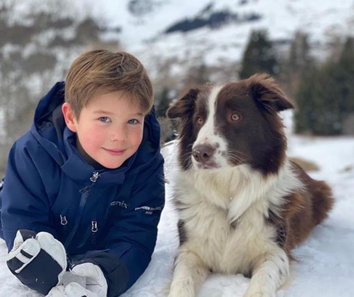 We love this snap of Prince Vincent in the snow with the family's pet dog, Grace.