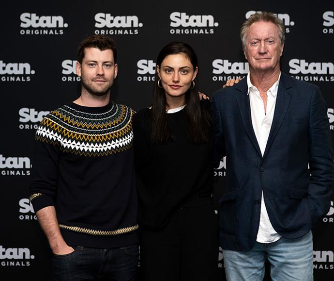 Jackson alongside co-stars Phoebe Tonkin and Bryan Brown ahead of Bloom season 2.