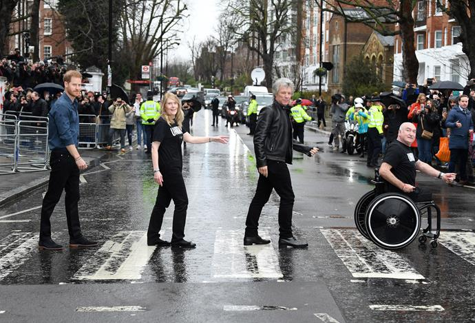 Prince Harry and Jon Bon Jovi posed up a storm outside the Abbey Road studios in London.