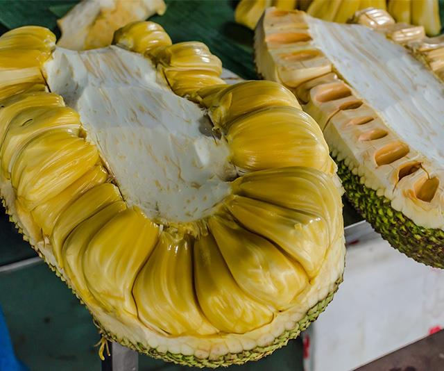 Inside, the jackfruit contains huge amount of light-coloured flesh.