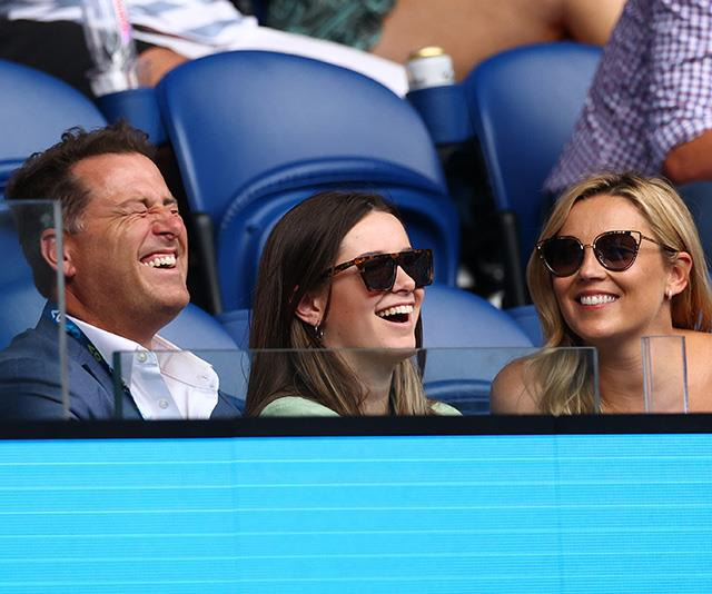 Karl and his teenage daughter Ava laughing with Jasmine at the Australian Open in January.