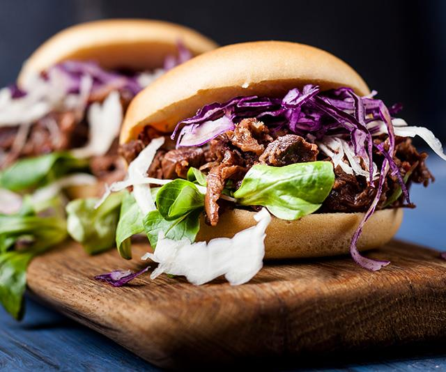 Jackfruit can be cooked in a way that resembles pulled pork, and used to create meals like these vegan jackfruit burgers.