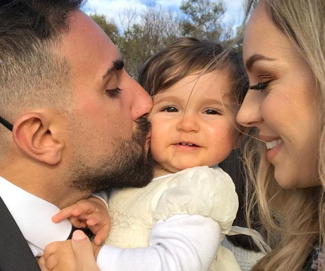 Nick with wife Christina and their eight-month-old daughter Paloma.