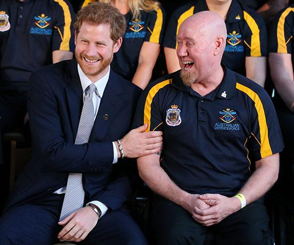 Prince Harry shares a laugh with Jeff Wright during the 2018 Sydney Invictus Games.