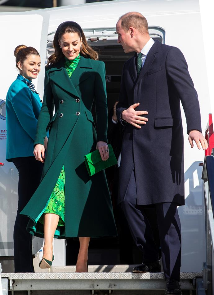 Kate and Wills were all smiles as they touched down in Dublin on Tuesday.