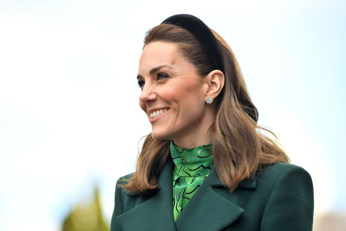 Kate was glowing in a headband and some glitzy diamonds.