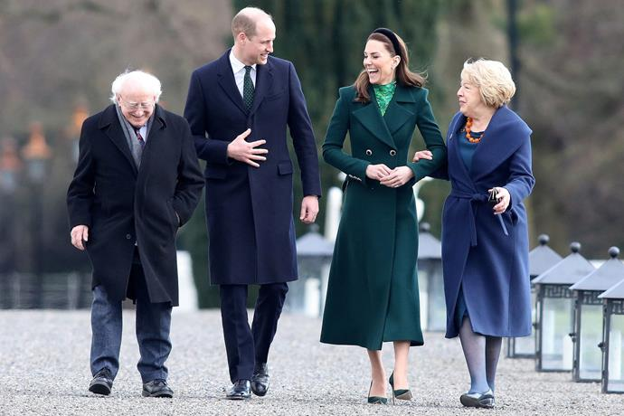 The Duke and Duchess met with Ireland's president, and his wife.