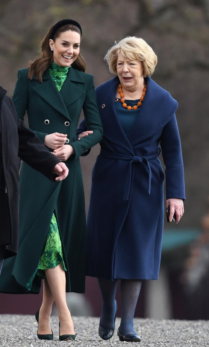 Kate made a fast turnaround after wearing another glorious green outfit earlier in the day.