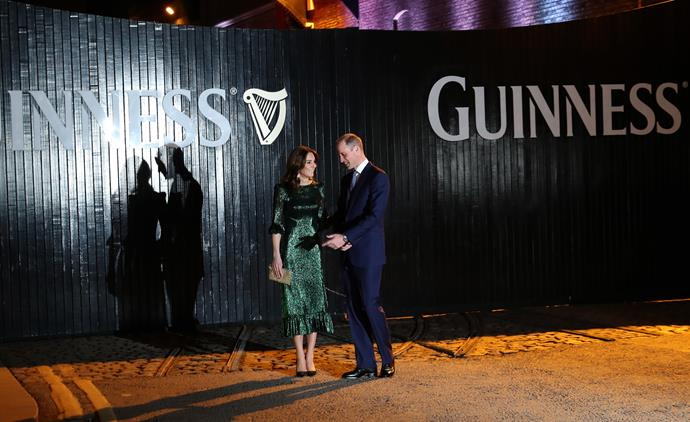 The pair posed in front of a large Guinness sign - the Irish spirit was strong!