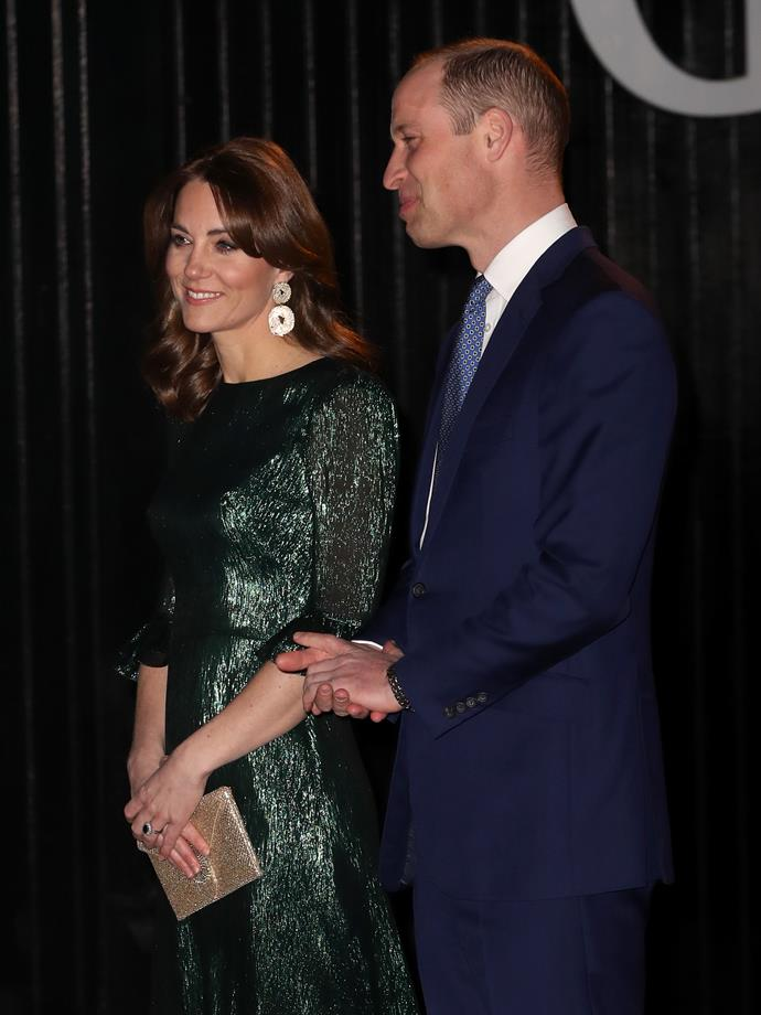 The Duchess paired a glorious set of earrings with her stunning dress.